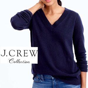 J. Crew 100% Cashmere Navy Blue V-Neck Sweater